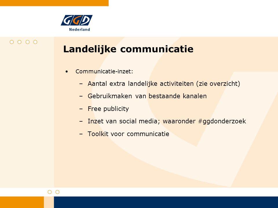 Landelijke communicatie Communicatie-inzet: –Aantal extra landelijke activiteiten (zie overzicht) –Gebruikmaken van bestaande kanalen –Free publicity –Inzet van social media; waaronder #ggdonderzoek –Toolkit voor communicatie