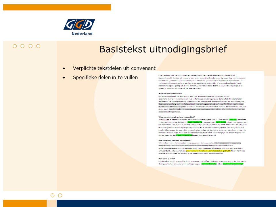 Basistekst uitnodigingsbrief Verplichte tekstdelen uit convenant Specifieke delen in te vullen