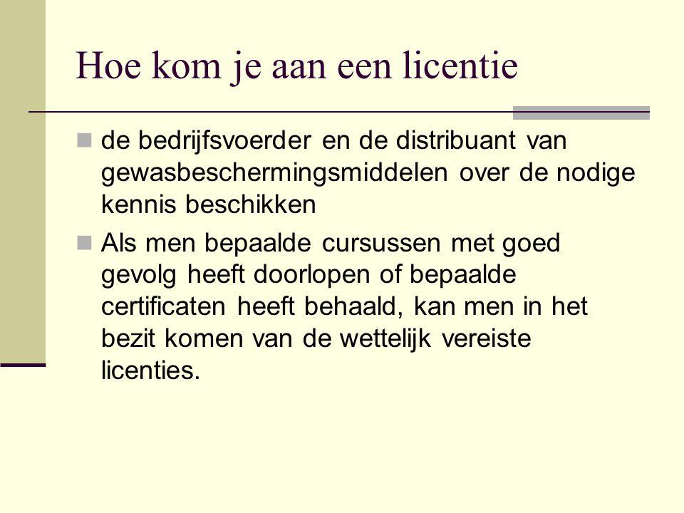 Hoe kom je aan een licentie de bedrijfsvoerder en de distribuant van gewasbeschermingsmiddelen over de nodige kennis beschikken Als men bepaalde cursu
