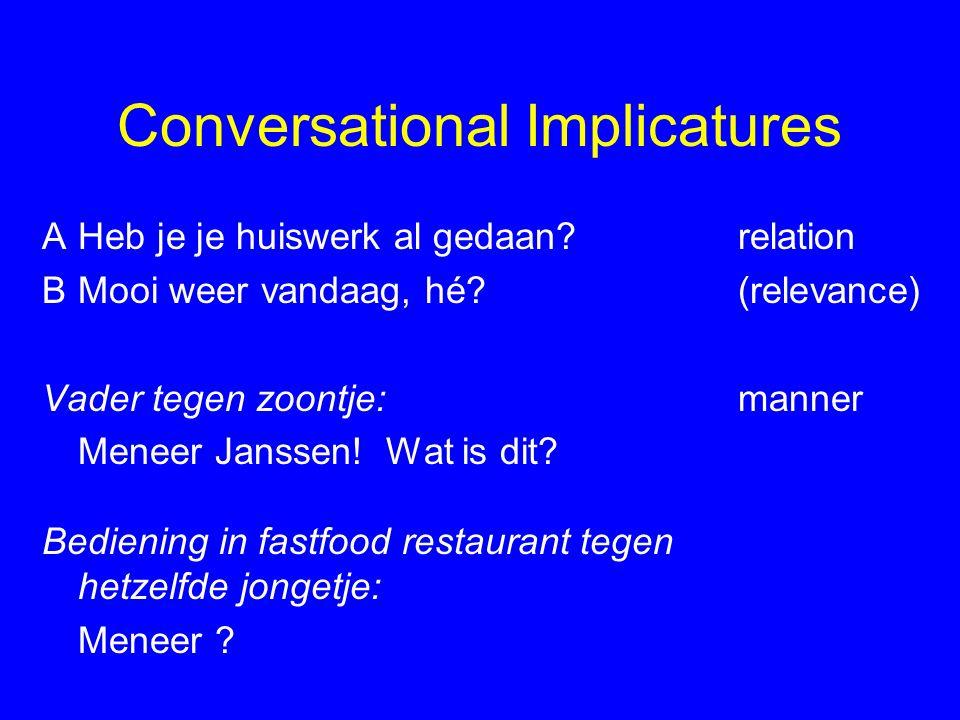 Conversational Implicatures AHeb je je huiswerk al gedaan.
