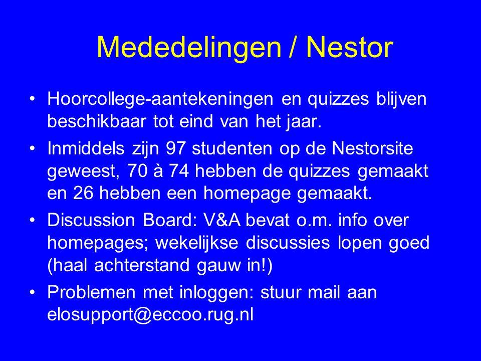 Mededelingen / Nestor Hoorcollege-aantekeningen en quizzes blijven beschikbaar tot eind van het jaar.