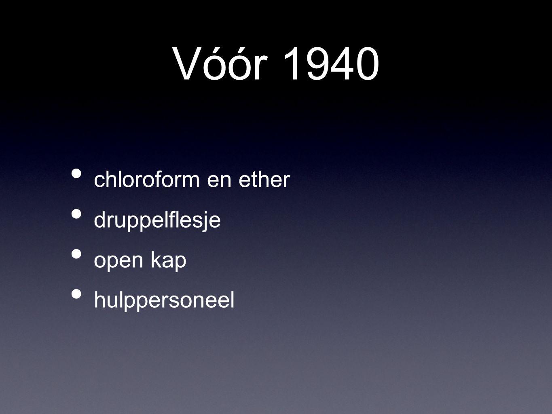 Vóór 1940 chloroform en ether druppelflesje open kap hulppersoneel