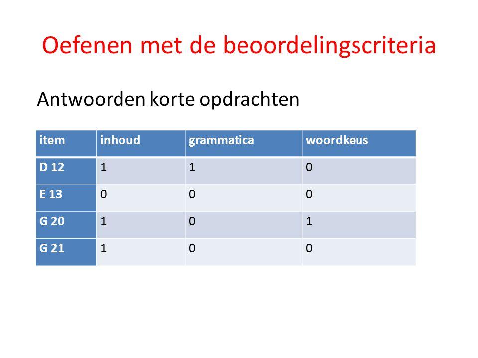 Oefenen met de beoordelingscriteria Antwoorden korte opdrachten iteminhoudgrammaticawoordkeus D 12110 E 13000 G 20101 G 21100