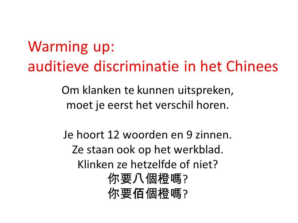 Warming up: auditieve discriminatie in het Chinees Om klanken te kunnen uitspreken, moet je eerst het verschil horen. Je hoort 12 woorden en 9 zinnen.