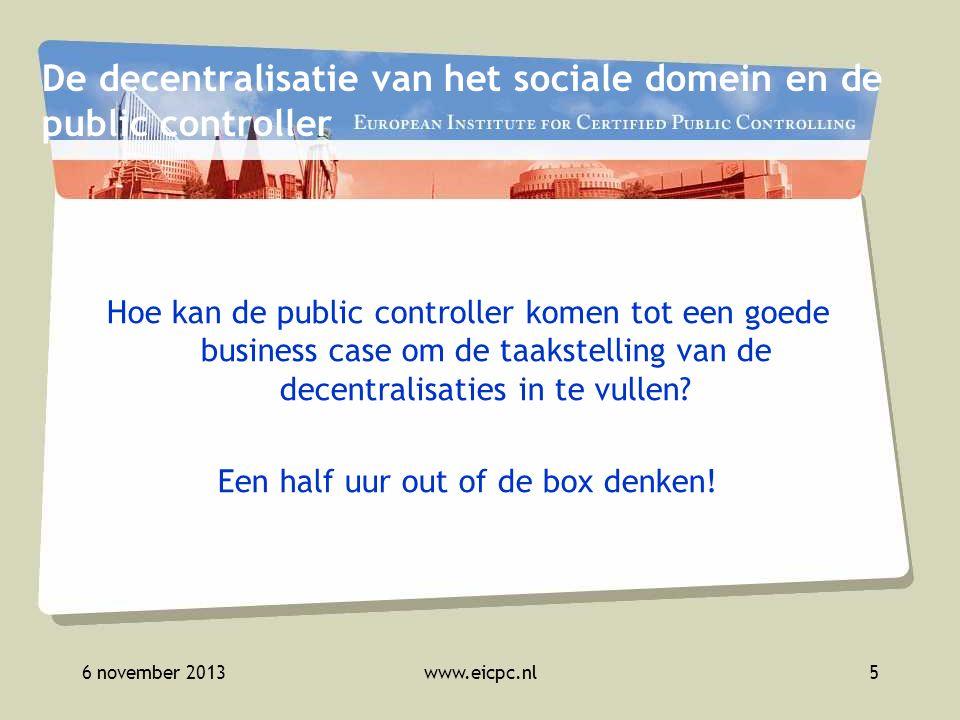 6 november 2013www.eicpc.nl6 Decentralisaties Jeugd Participatiewet AWBZ/WMO
