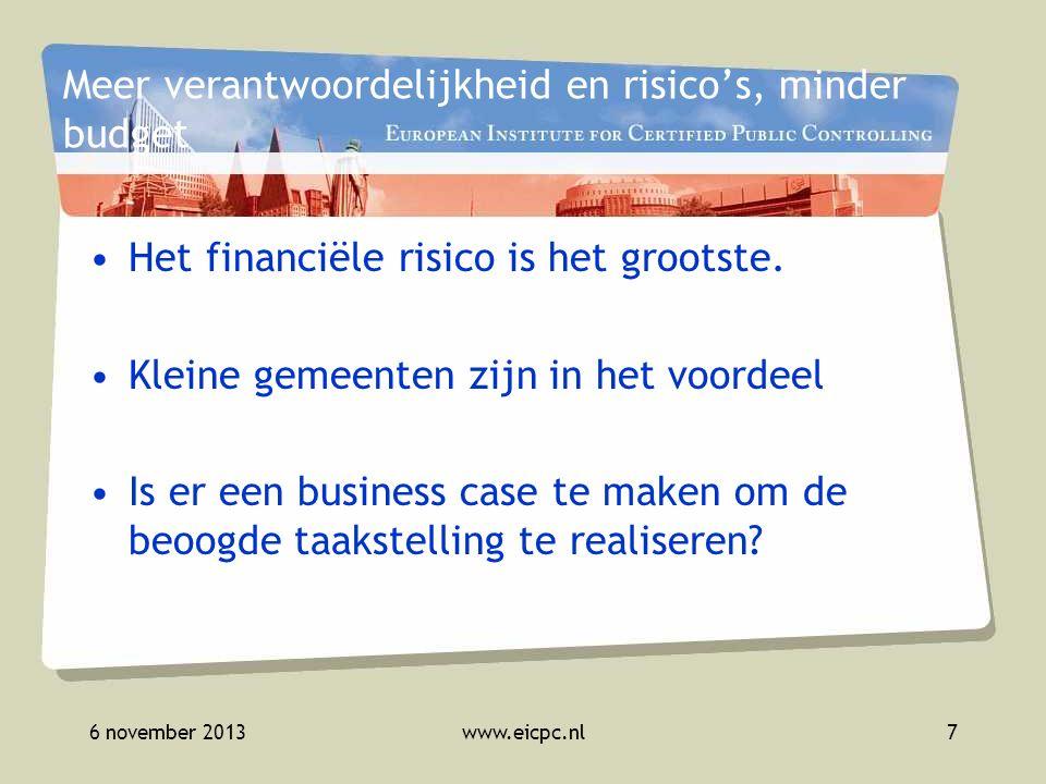 6 november 2013www.eicpc.nl8 Instrumentarium Gaat nu het tijdperk van netwerkcontrol in.
