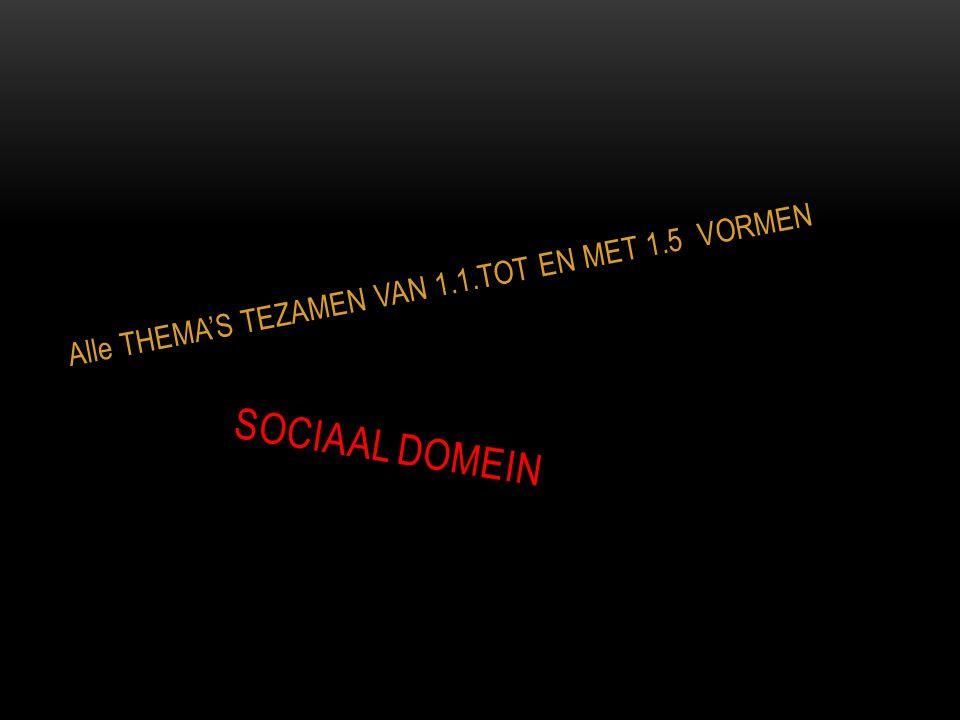 SOCIAAL DOMEIN Alle THEMA'S TEZAMEN VAN 1.1.TOT EN MET 1.5 VORMEN