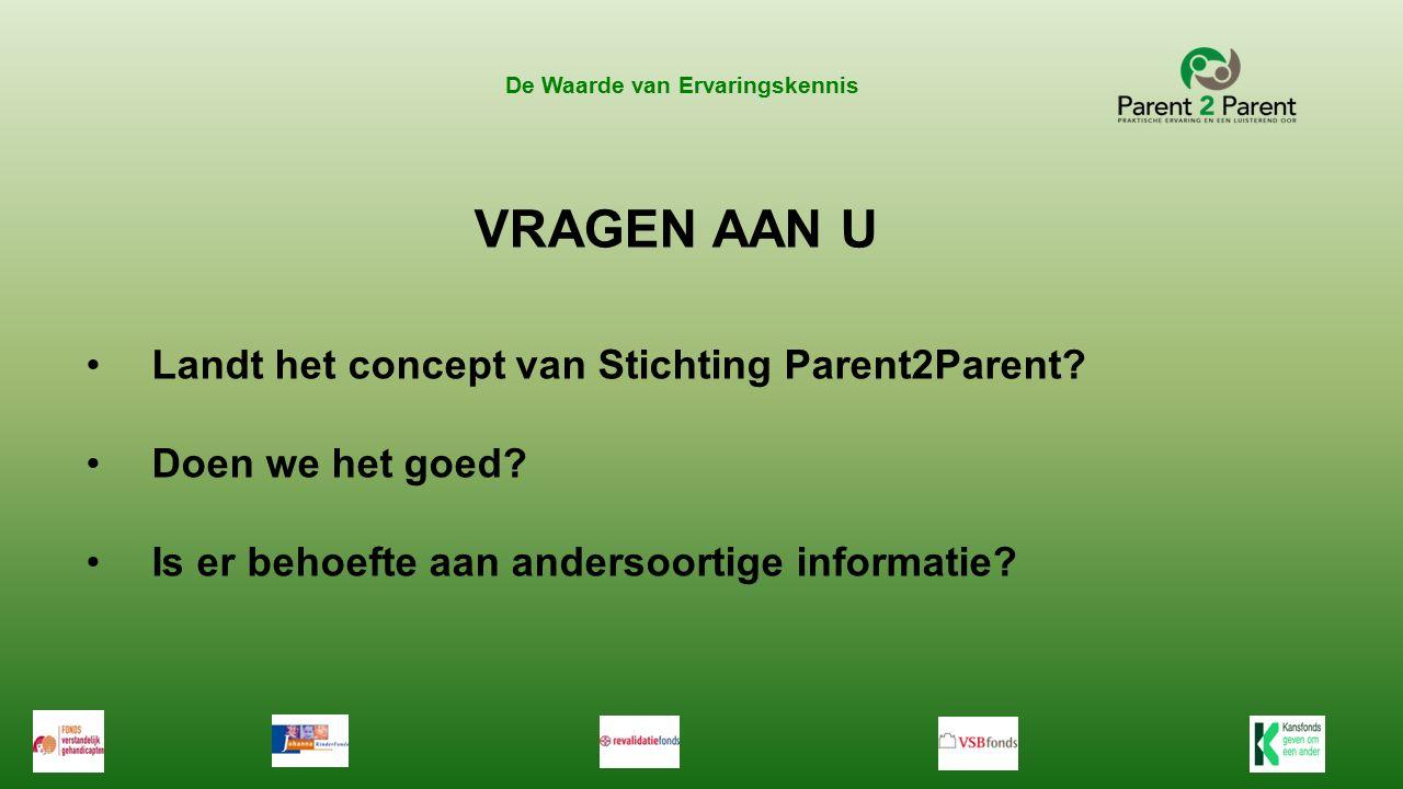 VRAGEN AAN U Landt het concept van Stichting Parent2Parent.
