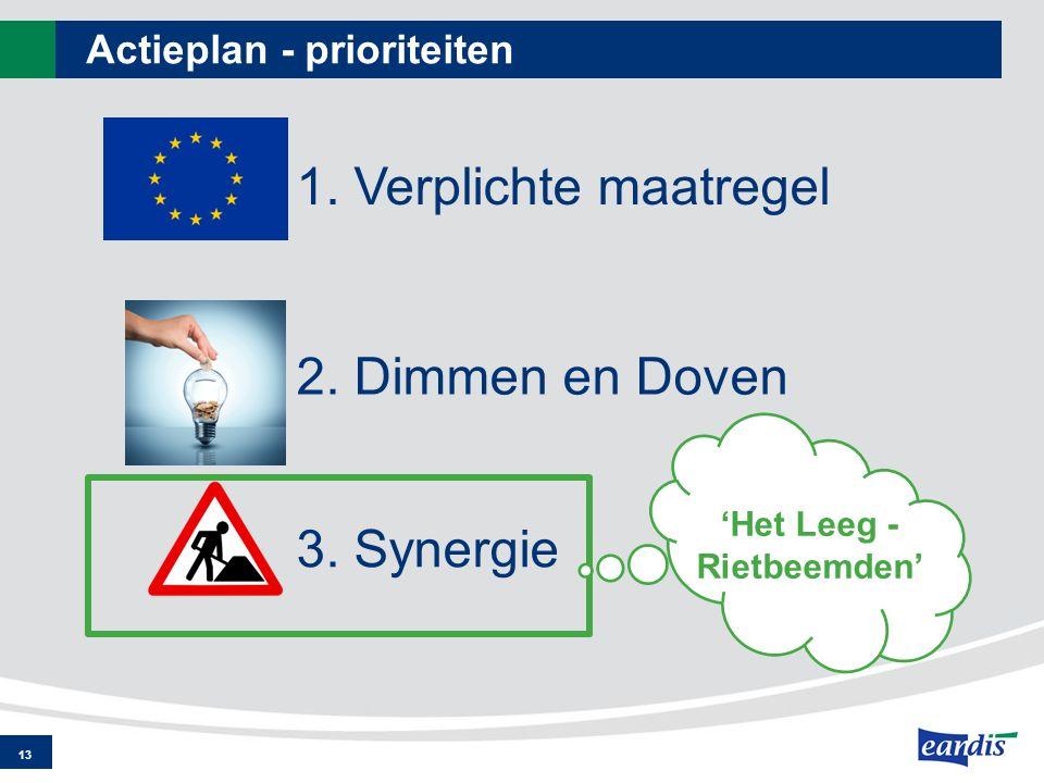 Actieplan - prioriteiten 13 1. Verplichte maatregel 2. Dimmen en Doven 3. Synergie 'Het Leeg - Rietbeemden'