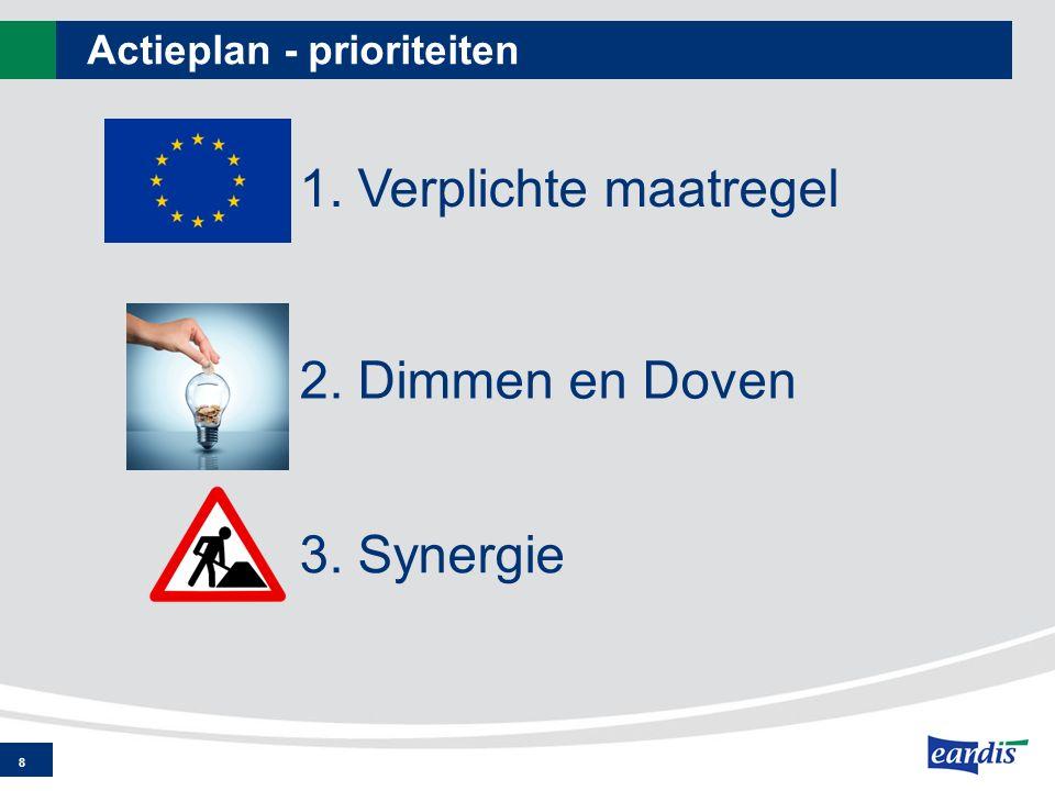 Actieplan - prioriteiten 8 1. Verplichte maatregel 2. Dimmen en Doven 3. Synergie