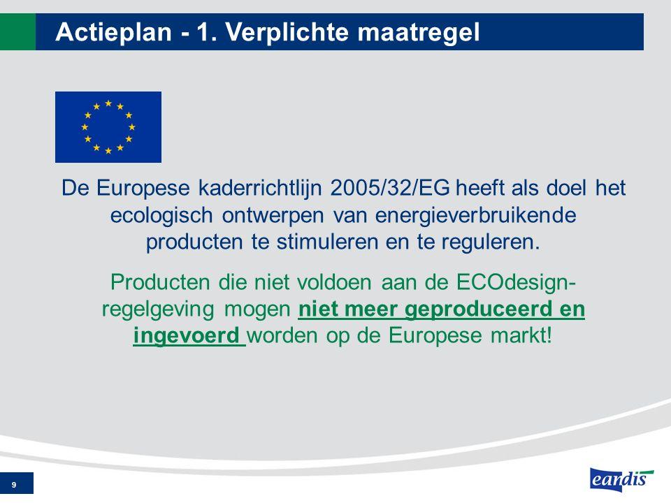 Actieplan - 1. Verplichte maatregel 9 De Europese kaderrichtlijn 2005/32/EG heeft als doel het ecologisch ontwerpen van energieverbruikende producten