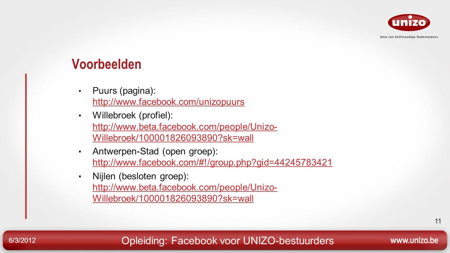 6/3/2012 11 Voorbeelden Puurs (pagina): http://www.facebook.com/unizopuurs http://www.facebook.com/unizopuurs Willebroek (profiel): http://www.beta.facebook.com/people/Unizo- Willebroek/100001826093890 sk=wall http://www.beta.facebook.com/people/Unizo- Willebroek/100001826093890 sk=wall Antwerpen-Stad (open groep): http://www.facebook.com/#!/group.php gid=44245783421 http://www.facebook.com/#!/group.php gid=44245783421 Nijlen (besloten groep): http://www.beta.facebook.com/people/Unizo- Willebroek/100001826093890 sk=wall http://www.beta.facebook.com/people/Unizo- Willebroek/100001826093890 sk=wall Opleiding: Facebook voor UNIZO-bestuurders