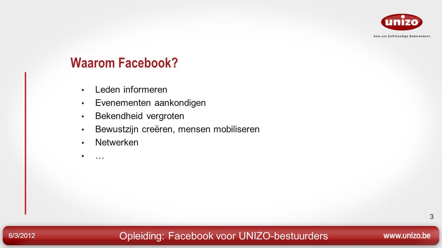 14 6/3/2012 Opleiding: Facebook voor UNIZO-bestuurders