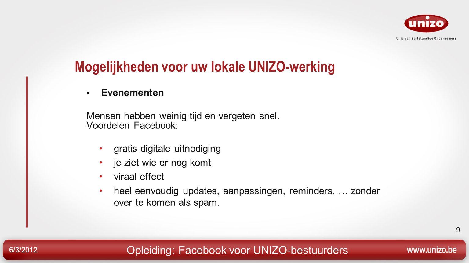 6/3/2012 9 Mogelijkheden voor uw lokale UNIZO-werking Evenementen Mensen hebben weinig tijd en vergeten snel.