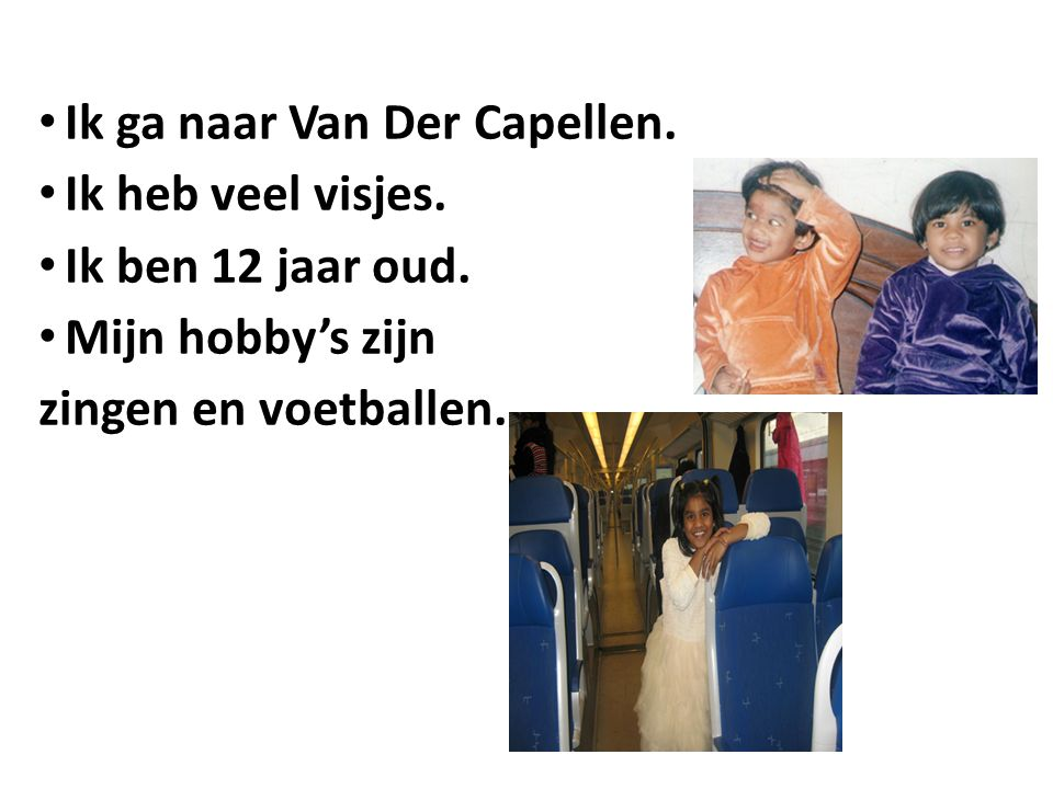 Ik ga naar Van Der Capellen. Ik heb veel visjes. Ik ben 12 jaar oud. Mijn hobby's zijn zingen en voetballen.