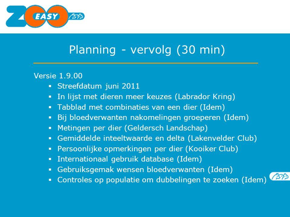 Planning - vervolg (30 min) Versie 1.9.00  Streefdatum juni 2011  In lijst met dieren meer keuzes (Labrador Kring)  Tabblad met combinaties van een