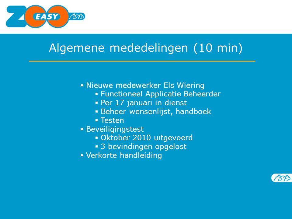  Nieuwe medewerker Els Wiering  Functioneel Applicatie Beheerder  Per 17 januari in dienst  Beheer wensenlijst, handboek  Testen  Beveiligingste