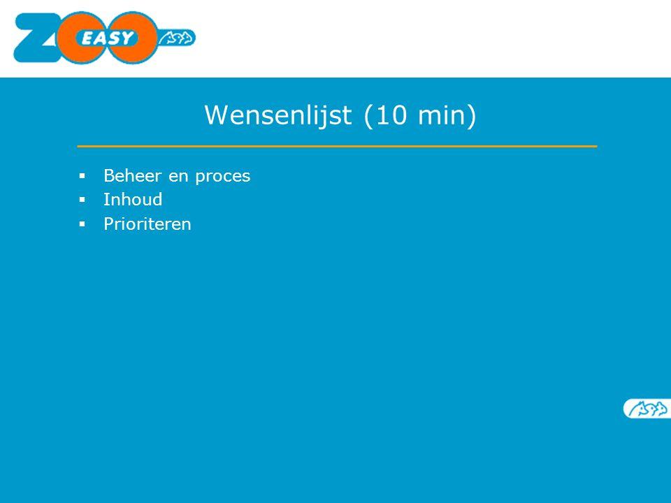 Wensenlijst (10 min)  Beheer en proces  Inhoud  Prioriteren