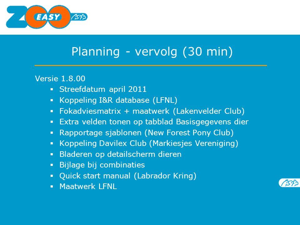Planning - vervolg (30 min) Versie 1.8.00  Streefdatum april 2011  Koppeling I&R database (LFNL)  Fokadviesmatrix + maatwerk (Lakenvelder Club)  E
