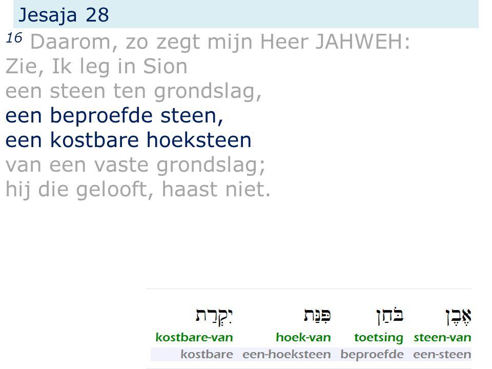 Jesaja 28 16 Daarom, zo zegt mijn Heer JAHWEH: Zie, Ik leg in Sion een steen ten grondslag, een beproefde steen, een kostbare hoeksteen van een vaste grondslag; hij die gelooft, haast niet.