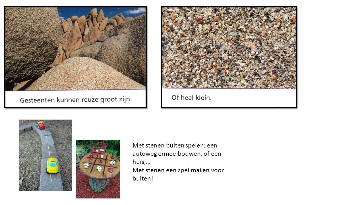 Met stenen buiten spelen; een autoweg ermee bouwen, of een huis,… Met stenen een spel maken voor buiten!