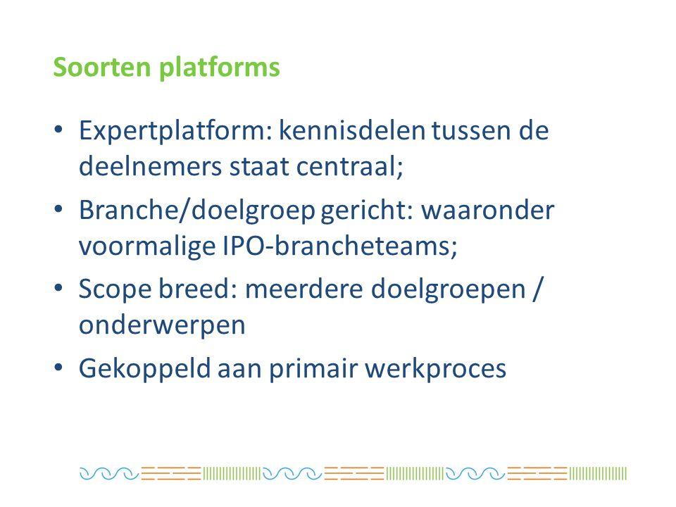 Expertplatform: kennisdelen tussen de deelnemers staat centraal; Branche/doelgroep gericht: waaronder voormalige IPO-brancheteams; Scope breed: meerdere doelgroepen / onderwerpen Gekoppeld aan primair werkproces Soorten platforms
