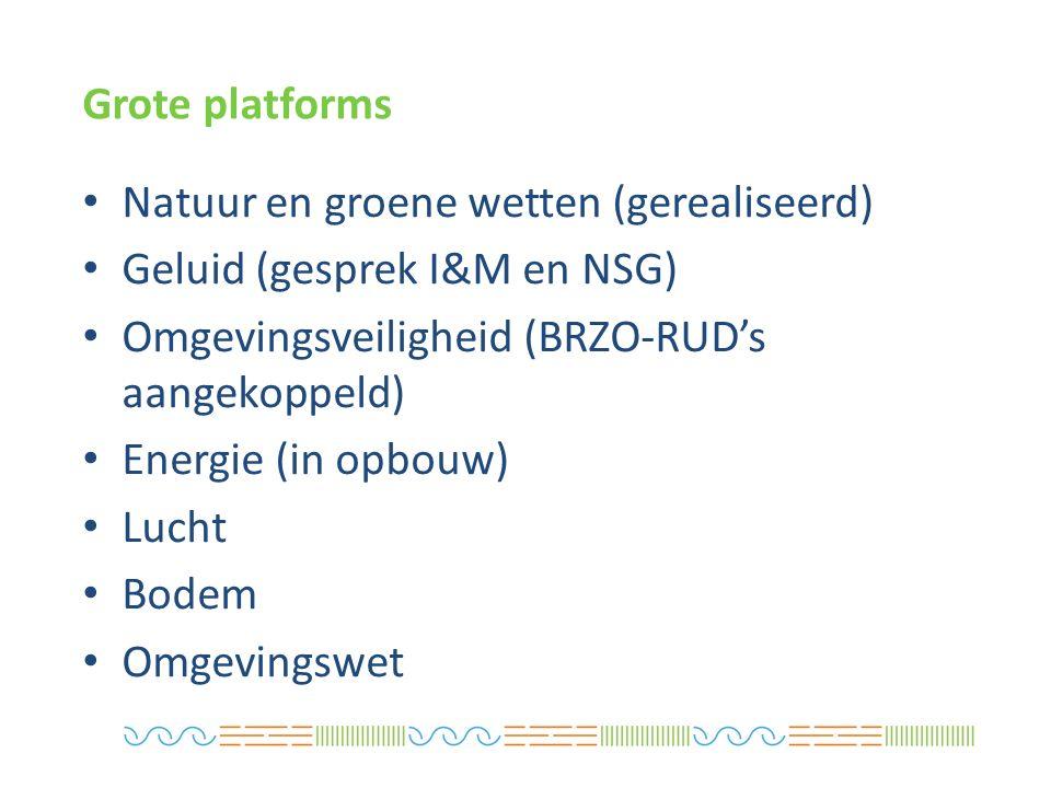 Natuur en groene wetten (gerealiseerd) Geluid (gesprek I&M en NSG) Omgevingsveiligheid (BRZO-RUD's aangekoppeld) Energie (in opbouw) Lucht Bodem Omgevingswet Grote platforms