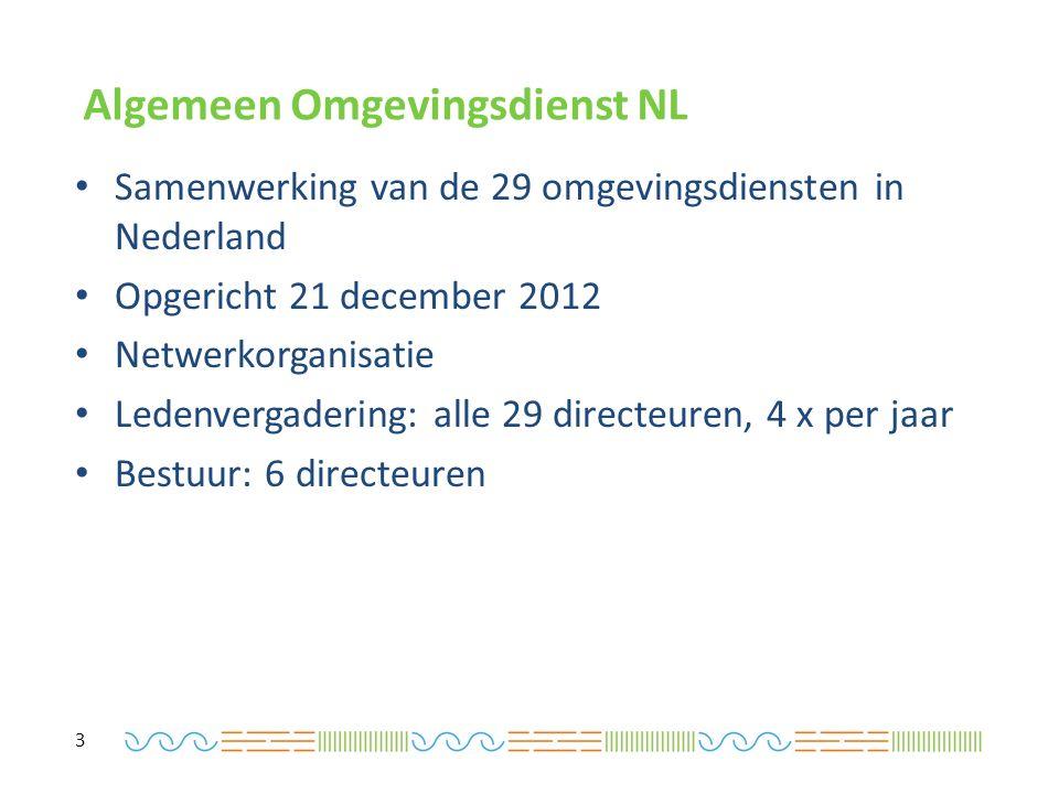 Algemeen Omgevingsdienst NL Samenwerking van de 29 omgevingsdiensten in Nederland Opgericht 21 december 2012 Netwerkorganisatie Ledenvergadering: alle 29 directeuren, 4 x per jaar Bestuur: 6 directeuren 3