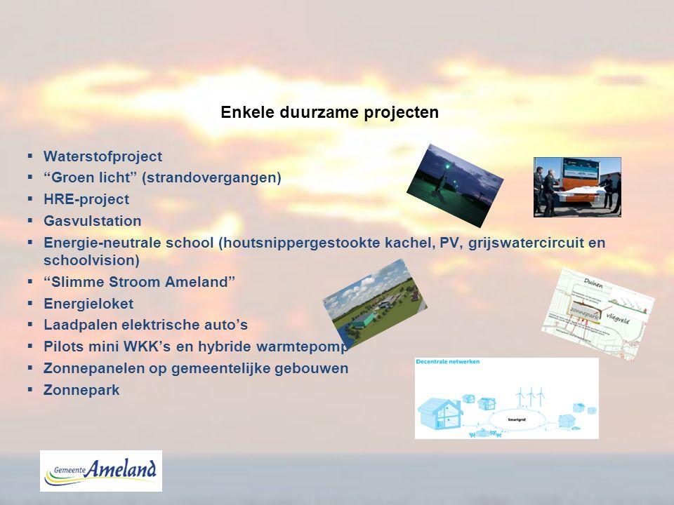 "Enkele duurzame projecten  Waterstofproject  ""Groen licht"" (strandovergangen)  HRE-project  Gasvulstation  Energie-neutrale school (houtsnipperge"