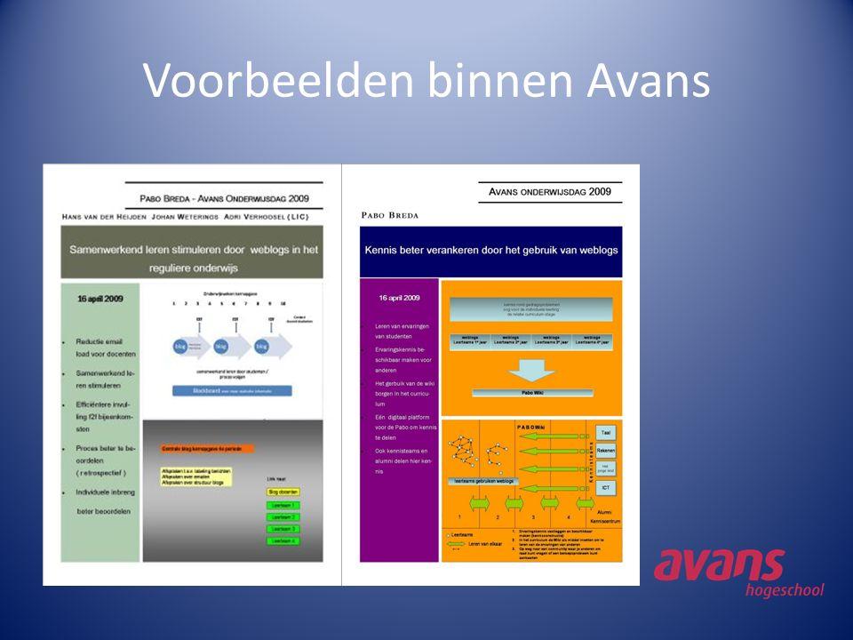 Voorbeelden binnen Avans
