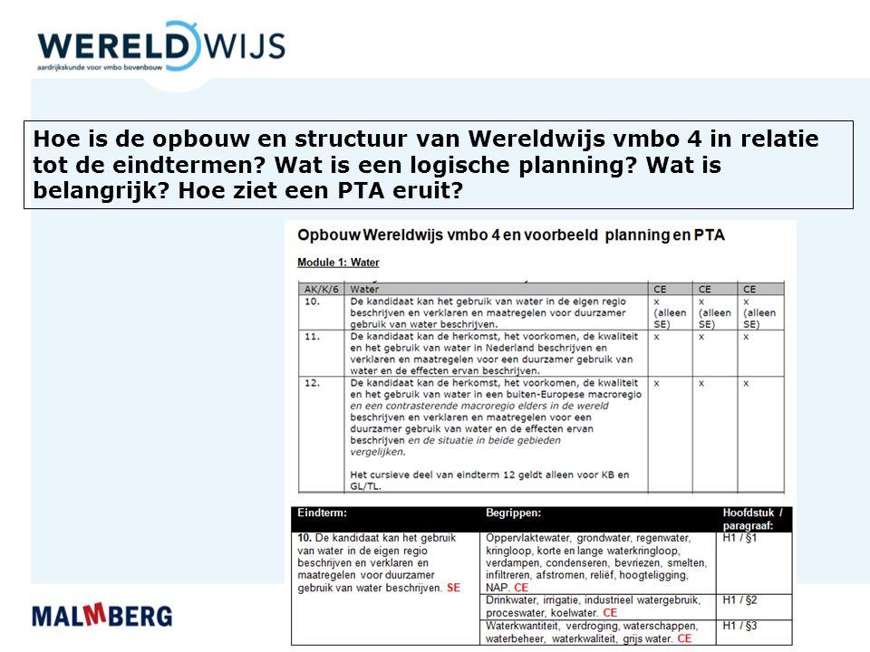 Hoe is de opbouw en structuur van Wereldwijs vmbo 4 in relatie tot de eindtermen.