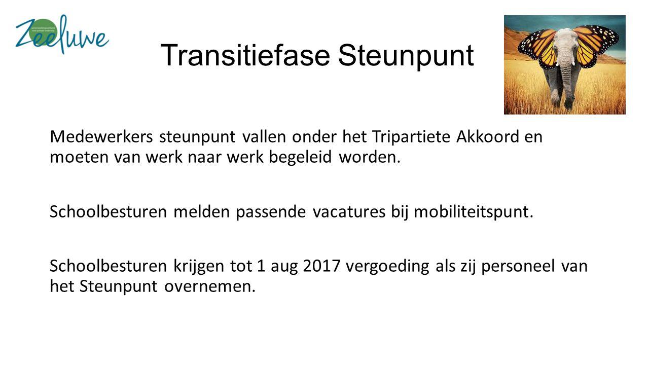 Transitiefase Steunpunt Medewerkers steunpunt vallen onder het Tripartiete Akkoord en moeten van werk naar werk begeleid worden.
