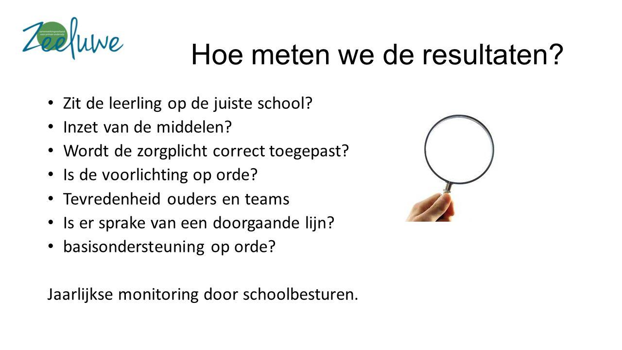 Hoe meten we de resultaten. Zit de leerling op de juiste school.
