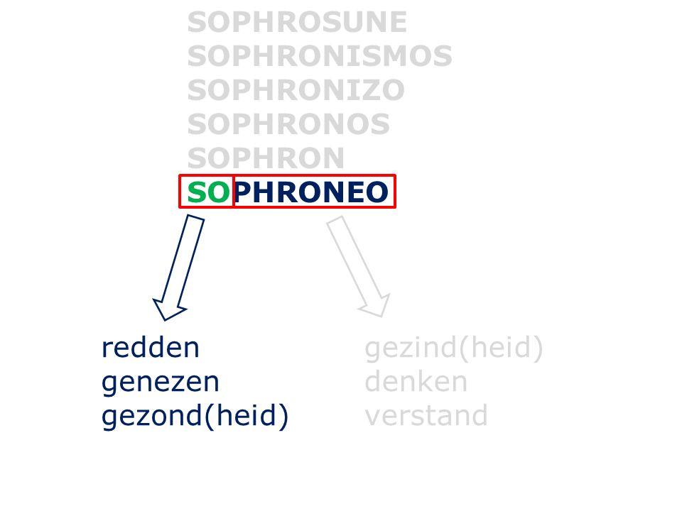 SOPHROSUNE SOPHRONISMOS SOPHRONIZO SOPHRONOS SOPHRON SOPHRONEO redden genezen gezond(heid) gezind(heid) denken verstand
