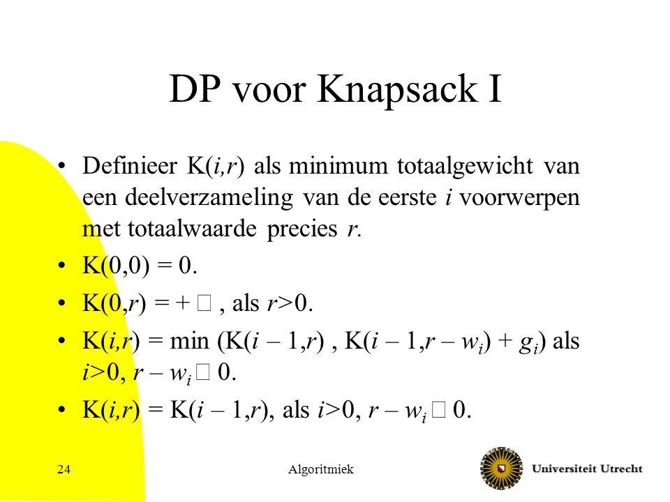 Algoritmiek24 DP voor Knapsack I Definieer K(i,r) als minimum totaalgewicht van een deelverzameling van de eerste i voorwerpen met totaalwaarde precie