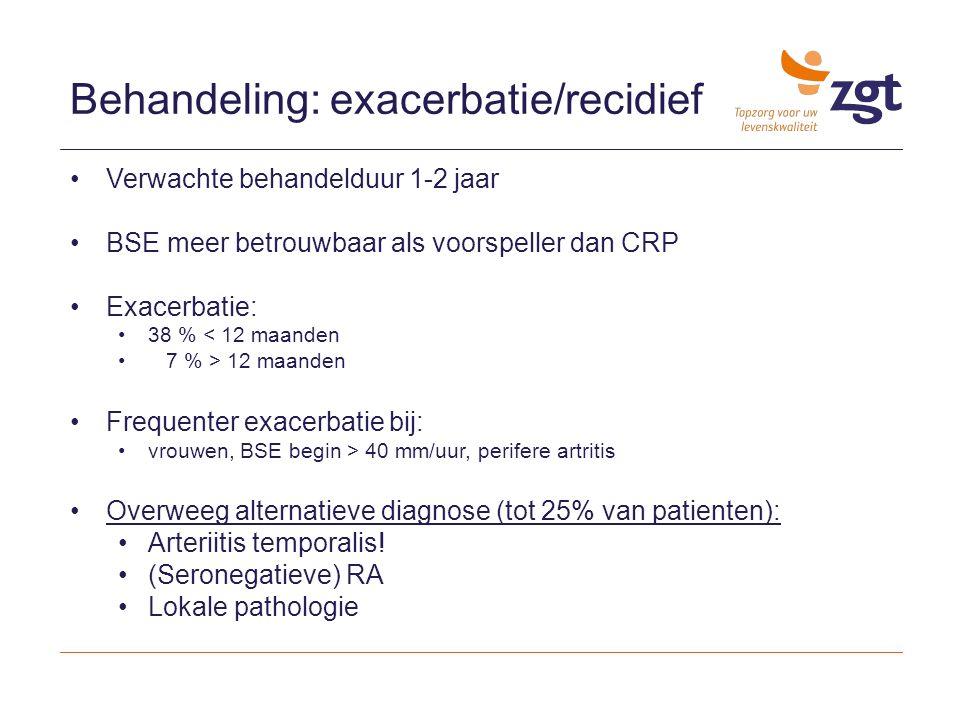 Behandeling: exacerbatie/recidief Verwachte behandelduur 1-2 jaar BSE meer betrouwbaar als voorspeller dan CRP Exacerbatie: 38 % < 12 maanden 7 % > 12