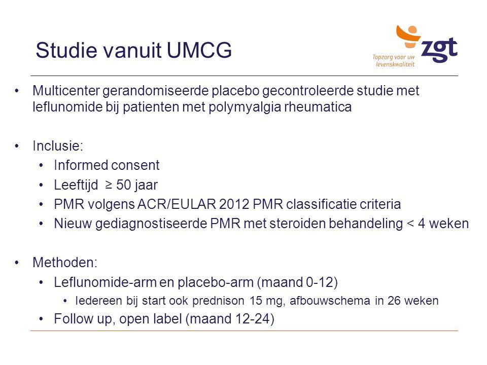 Studie vanuit UMCG Multicenter gerandomiseerde placebo gecontroleerde studie met leflunomide bij patienten met polymyalgia rheumatica Inclusie: Inform