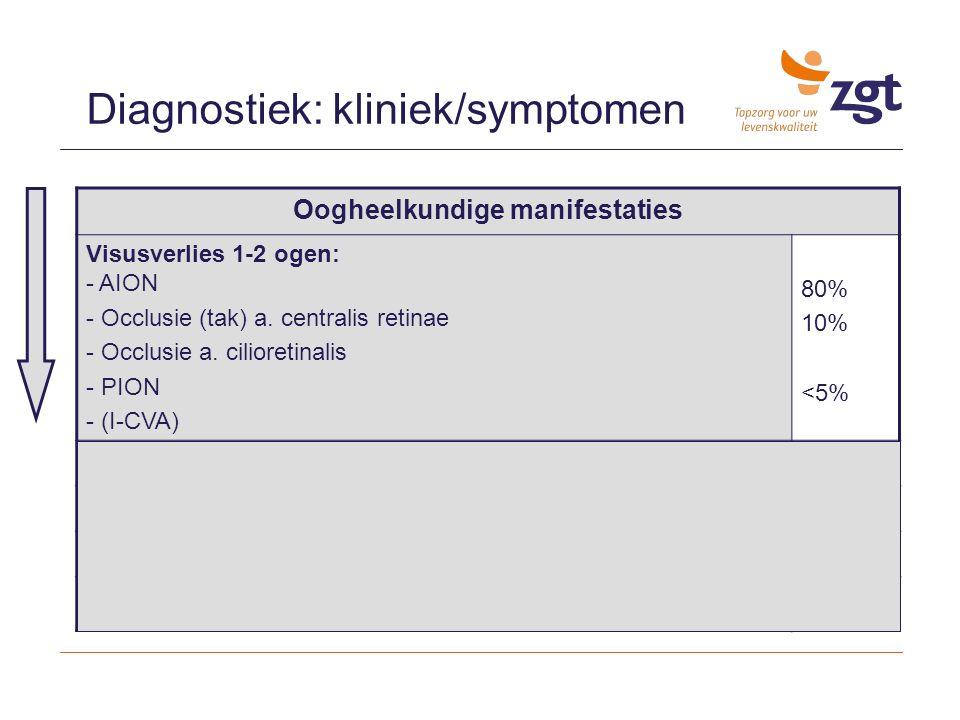Diagnostiek: kliniek/symptomen Oogheelkundige manifestaties Visusverlies 1-2 ogen: - AION - Occlusie (tak) a. centralis retinae - Occlusie a. cilioret