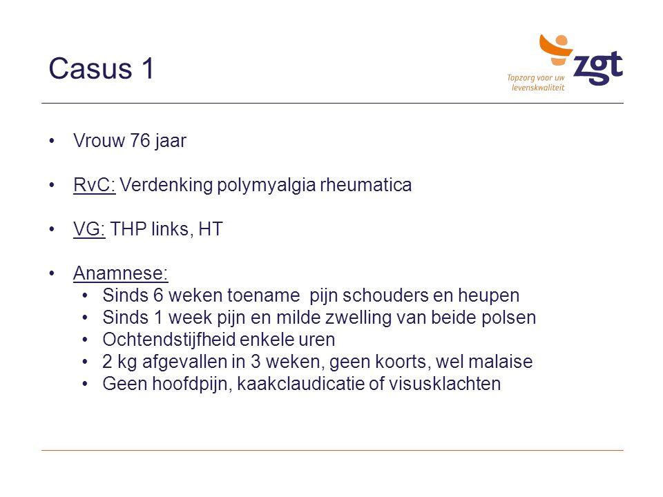 Diagnostiek: echografie Echografie/MRI: Schouders: Bilaterale bursitis subacromialis/subdeltoideus (95%) Bicepspeestendinitis (75%) Glenohumerale effusie(20%) Heupen: Bursitis trochanterica Gewrichtseffusie heupen