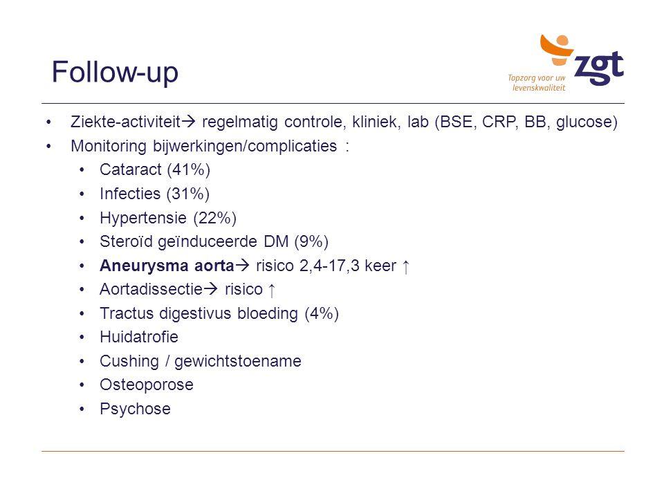 Ziekte-activiteit  regelmatig controle, kliniek, lab (BSE, CRP, BB, glucose) Monitoring bijwerkingen/complicaties : Cataract (41%) Infecties (31%) Hy