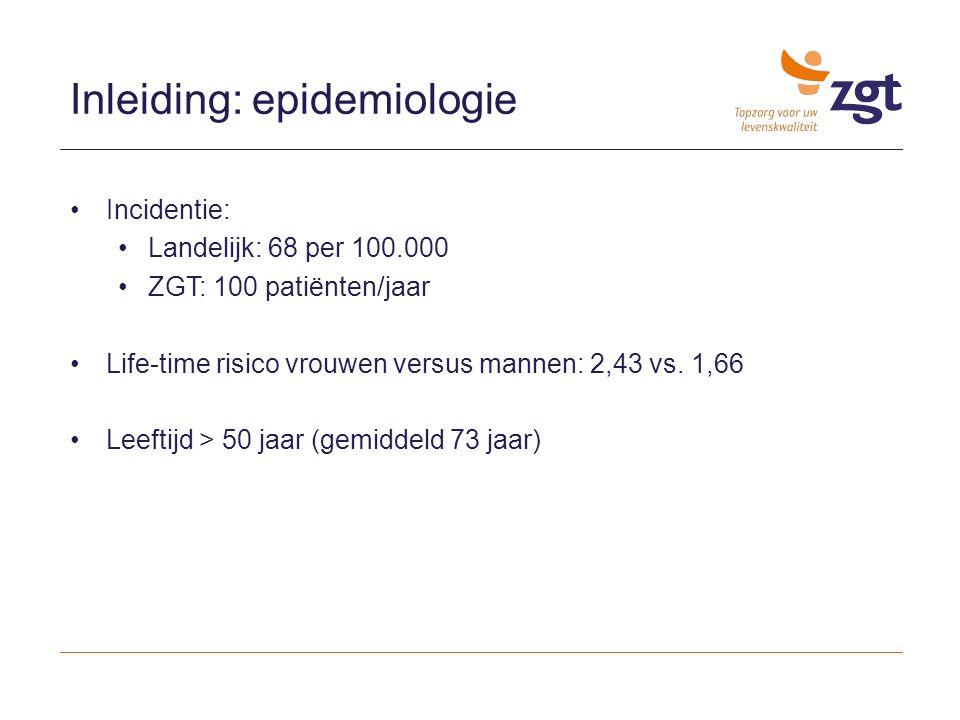 Inleiding: epidemiologie Incidentie: Landelijk: 68 per 100.000 ZGT: 100 patiënten/jaar Life-time risico vrouwen versus mannen: 2,43 vs. 1,66 Leeftijd