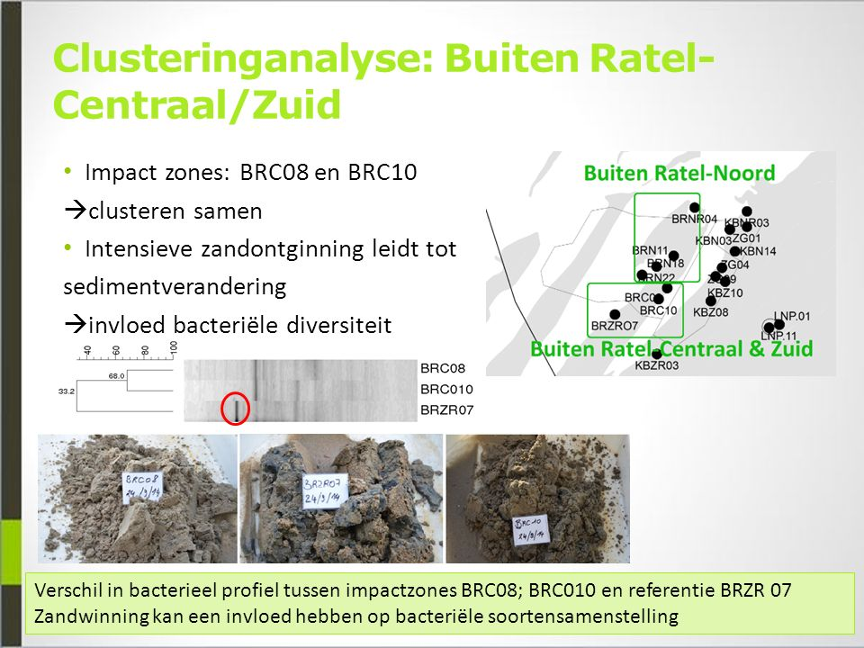 Clusteringanalyse: Buiten Ratel- Centraal/Zuid Impact zones: BRC08 en BRC10  clusteren samen Intensieve zandontginning leidt tot sedimentverandering  invloed bacteriële diversiteit Verschil in bacterieel profiel tussen impactzones BRC08; BRC010 en referentie BRZR 07 Zandwinning kan een invloed hebben op bacteriële soortensamenstelling