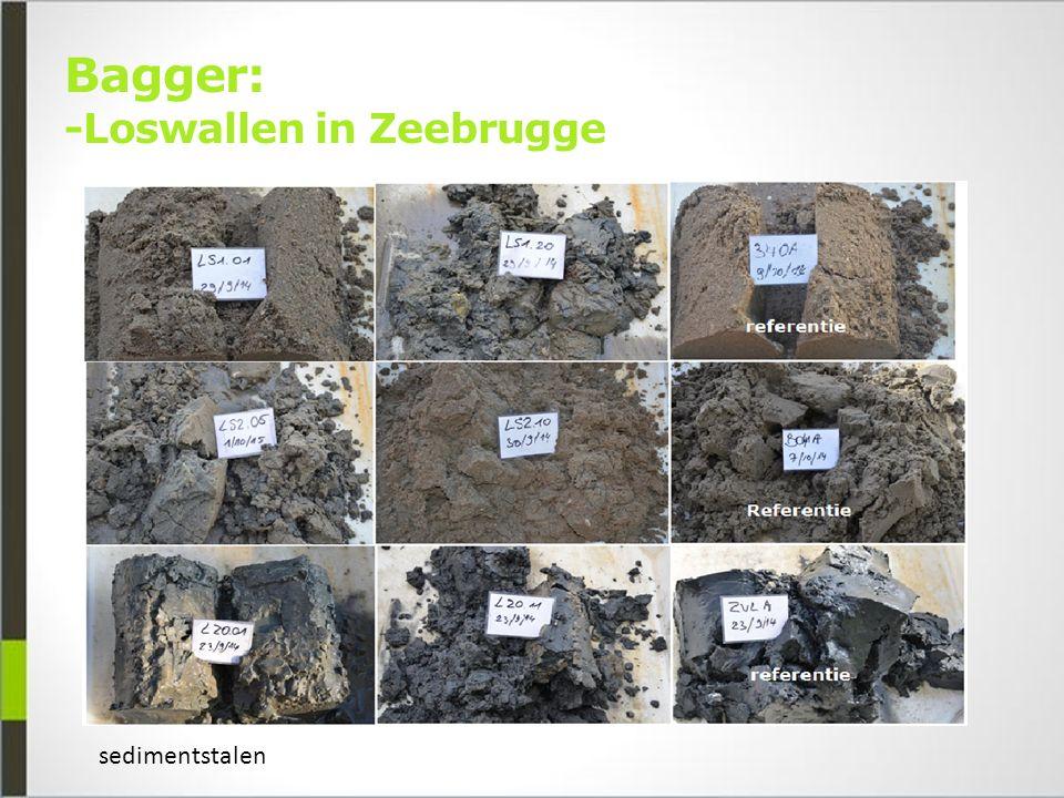 Bagger: -Loswallen in Zeebrugge sedimentstalen