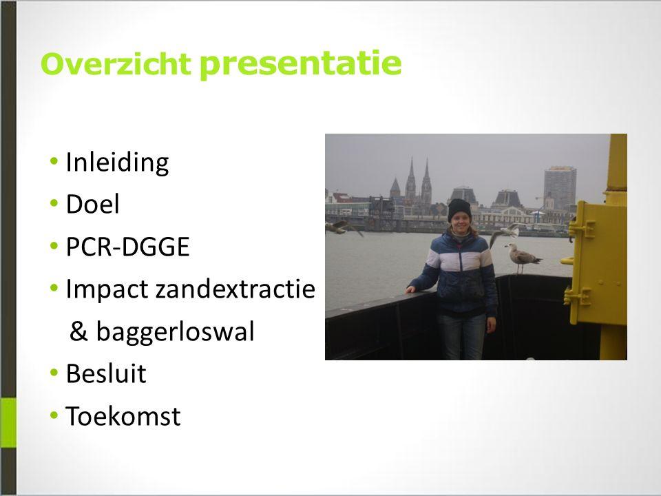 Overzicht presentatie Inleiding Doel PCR-DGGE Impact zandextractie & baggerloswal Besluit Toekomst