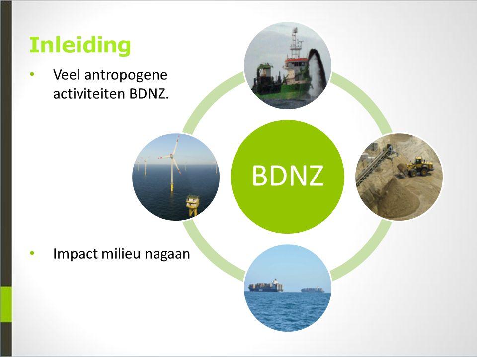 Inleiding Veel antropogene activiteiten BDNZ. Impact milieu nagaan BDNZ