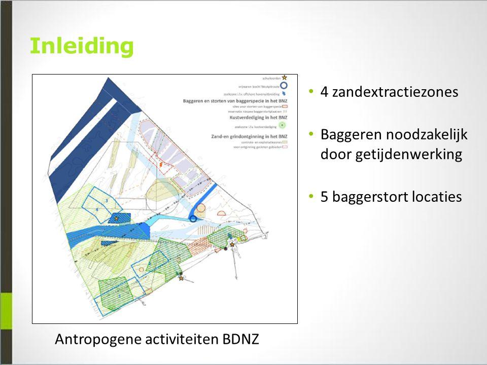 Inleiding Antropogene activiteiten BDNZ 4 zandextractiezones Baggeren noodzakelijk door getijdenwerking 5 baggerstort locaties