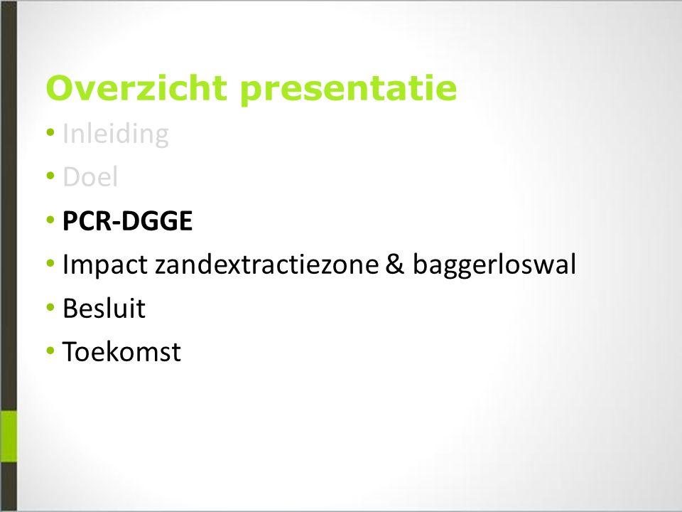 Overzicht presentatie Inleiding Doel PCR-DGGE Impact zandextractiezone & baggerloswal Besluit Toekomst