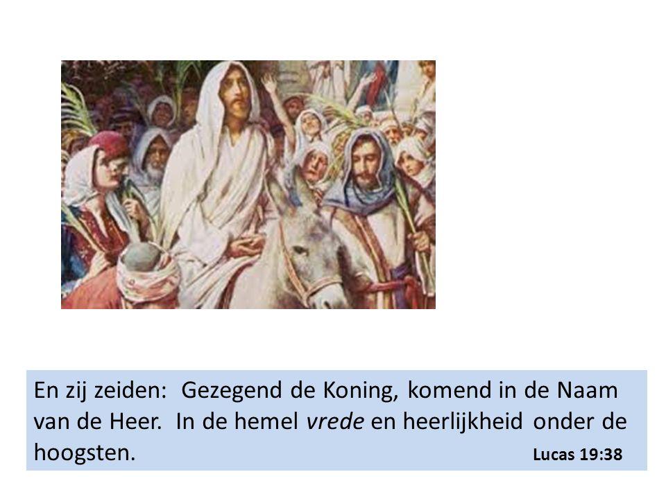 En zij zeiden: Gezegend de Koning, komend in de Naam van de Heer. In de hemel vrede en heerlijkheid onder de hoogsten. Lucas 19:38