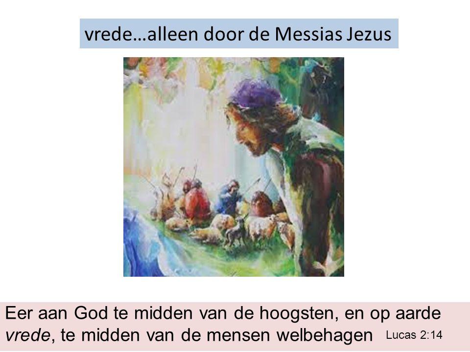 vrede…alleen door de Messias Jezus Eer aan God te midden van de hoogsten, en op aarde vrede, te midden van de mensen welbehagen Lucas 2:14