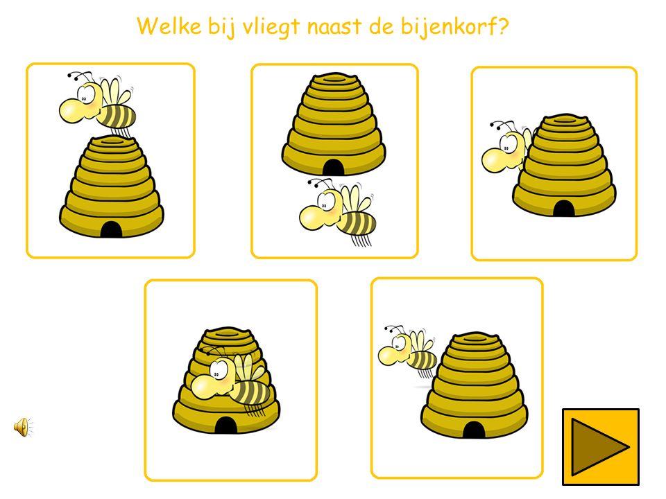 Welke bij vliegt links van de bijenkorf?